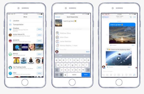 Facebook Messenger Dropbox Partage