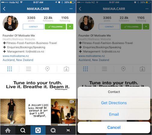 Instagram Bouton Contacter Profil
