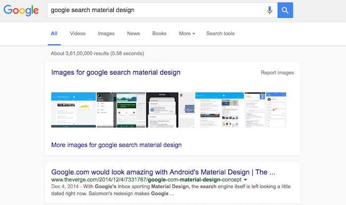 Google Material Design Recherche