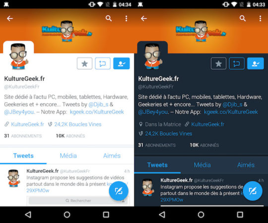 Twitter Android Mode Nuit