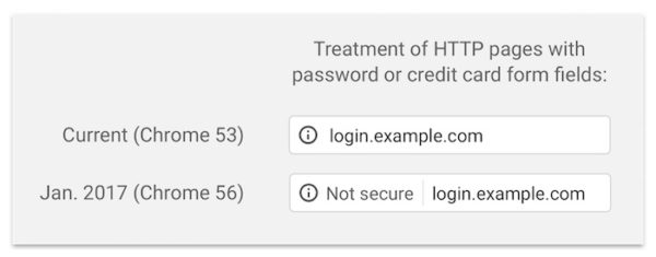 Chrome 56 HTTP Non Securise