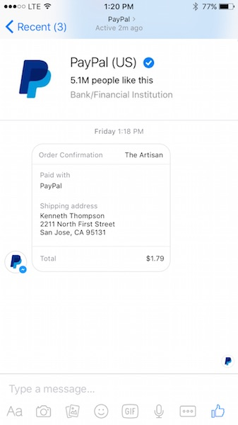 paypal-integration-facebook-messenger