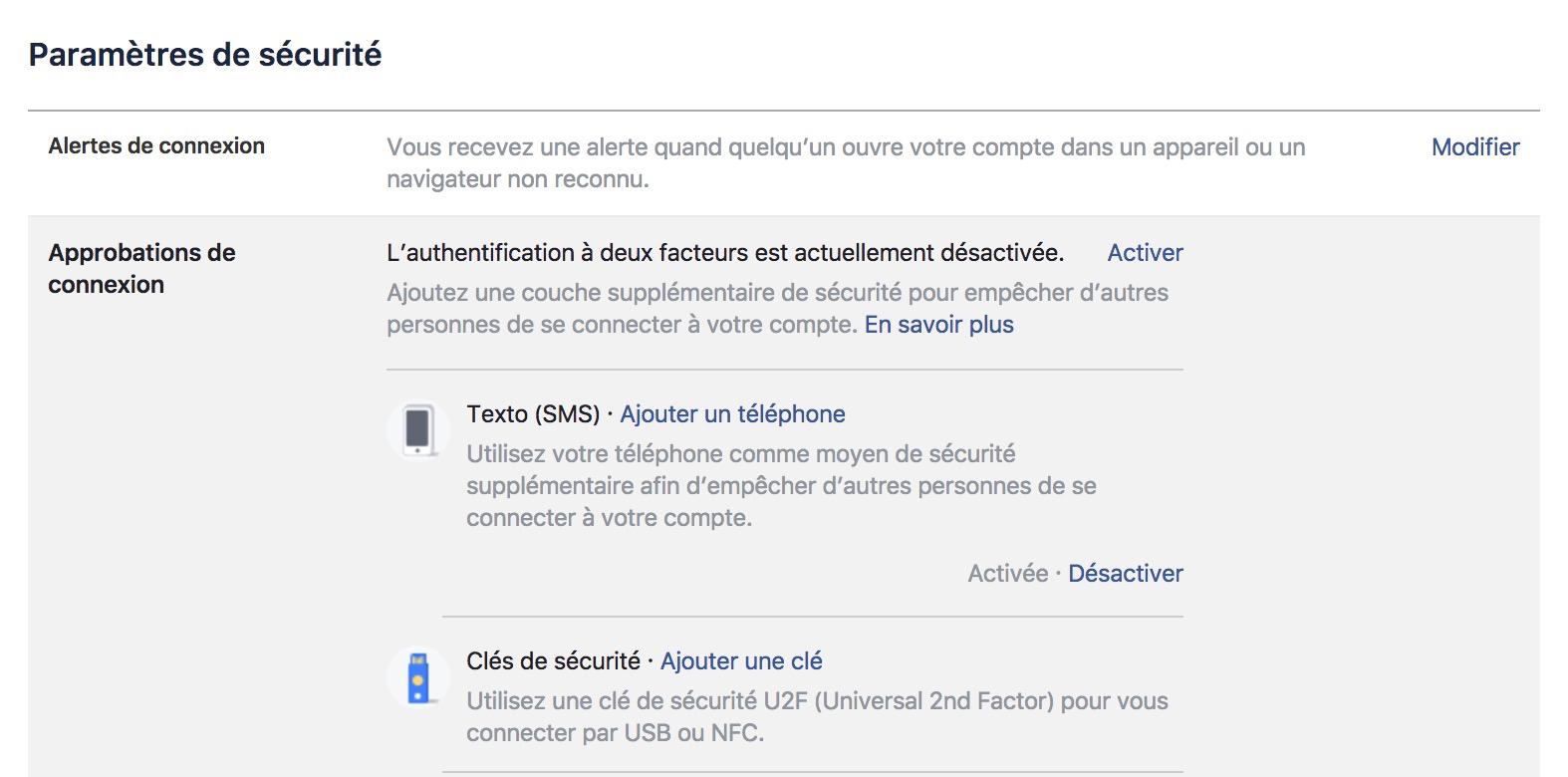 Facebook Cle Securite