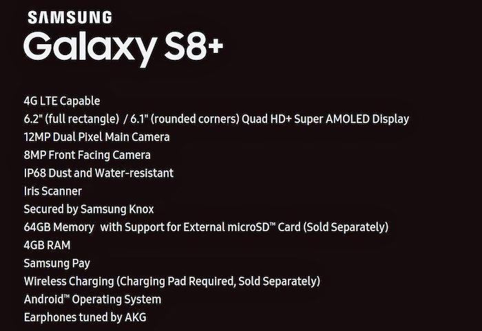 Galaxy S8 Plus Caracteristiques Fuite