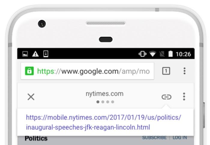 Google AMP Partage Lien