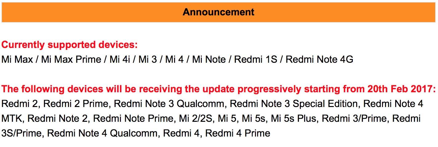 MIUI 8.2 Xiaomi