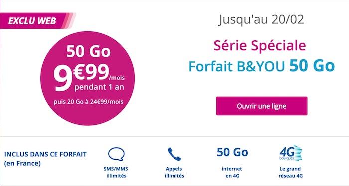 Promo Bouygues Forfait 50 Go Fevrier 2017