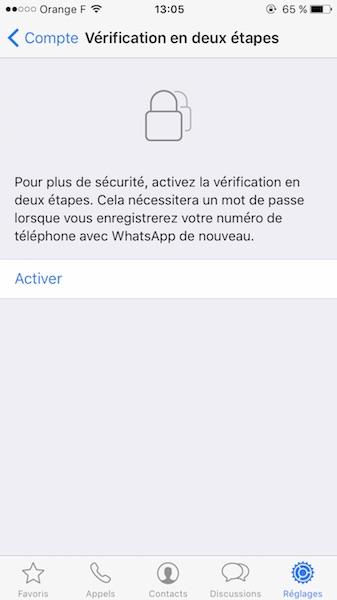 WhatsApp Verification Deux Etapes