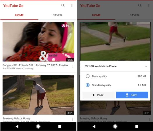 YouTube Go Application Android 524x450