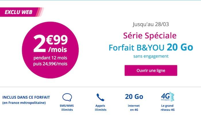 Bouygues Telecom Promo 2.99 Euros Mars 2017