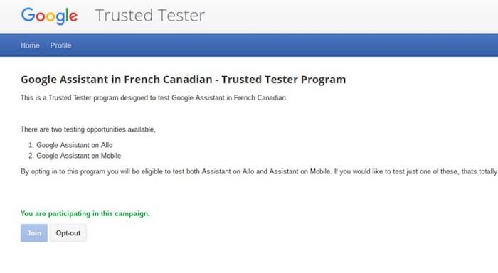 Google Assistant Recherche Testeurs Francais Canadien
