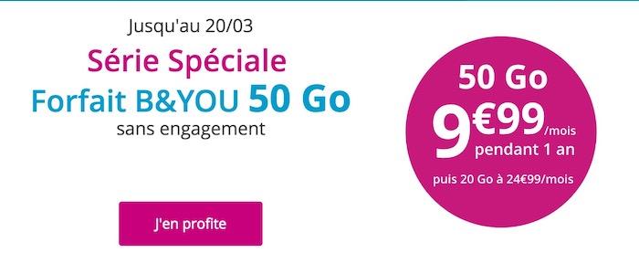 Promo Forfait Bouygues 50 Go 9.99 Euros Mars 2017