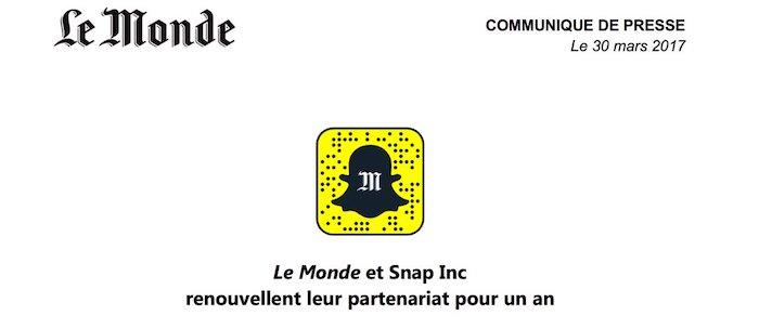 Snapchat Le Monde Partenariat Renouvele