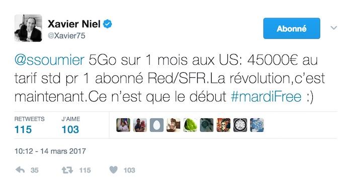 Tweet Xavier Niel SFR Roaming