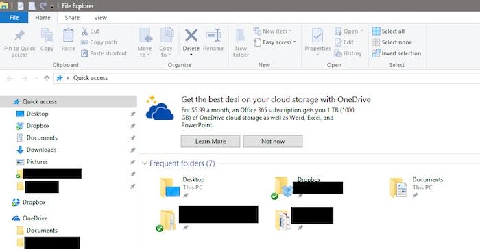 Windows 10 Explorateur Fichiers Publicite