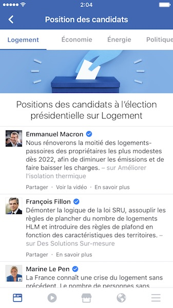 Facebook Election Presidentielle 2017 Programmes Candidats
