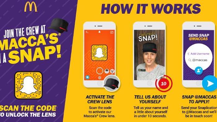 Snapchat McDonald Filtre Recrutement