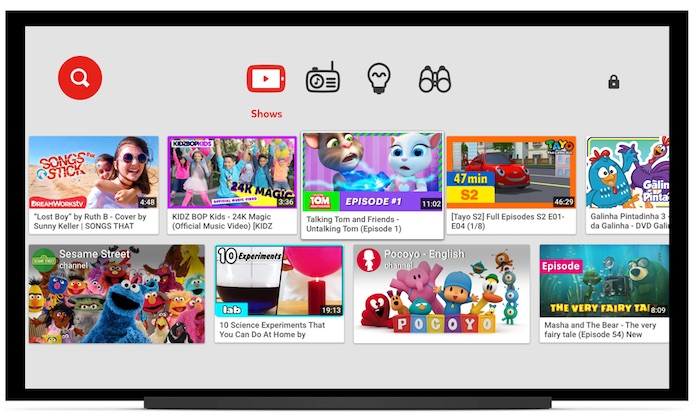 YouTube Kids Application TV Connectee