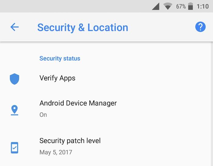 Android O Developer Preview 2 Securite Reglages