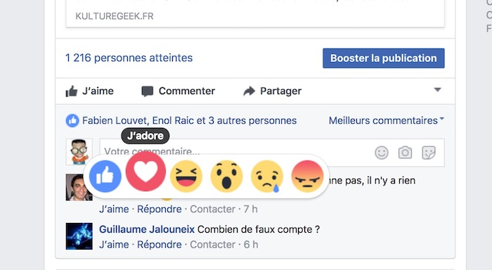 Facebook Commentaires Reactions