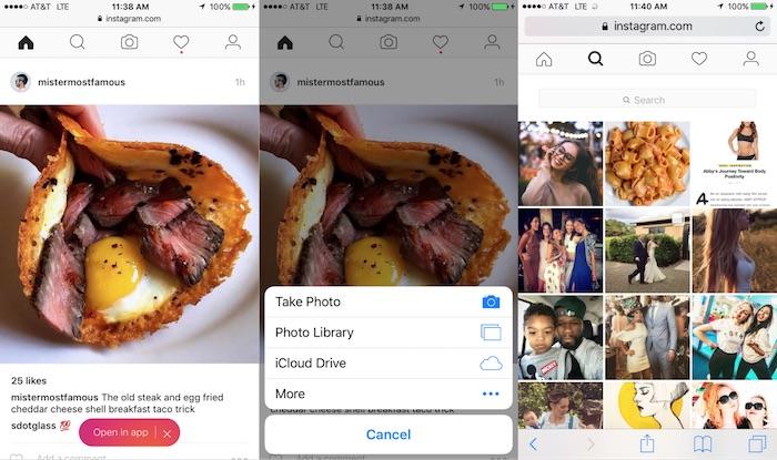 Instagram Envoi Photo Site Mobile