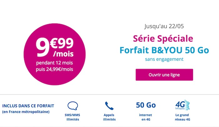 Promo Bouygues Forfait 9.99 Euro Mai 2017