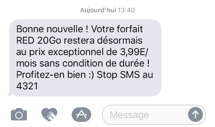 SMS SFR RED Forfait 3.99 A Vie