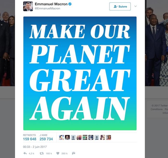 Macron Make Our Planet Great Again Tweet