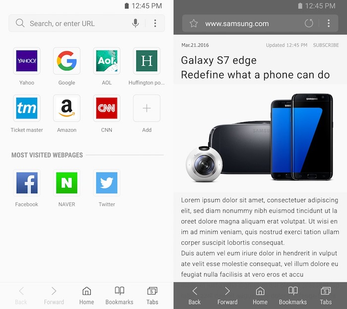 Samsung Internet Browser Application Android