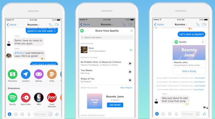 Spotify Creation Playlist Facebook Messenger