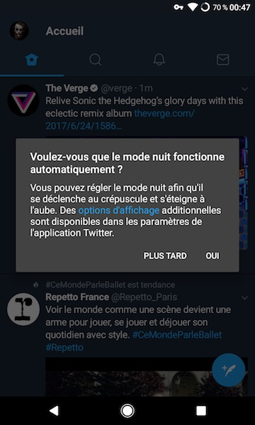 Twitter Application Android Mode Nuit Automatique