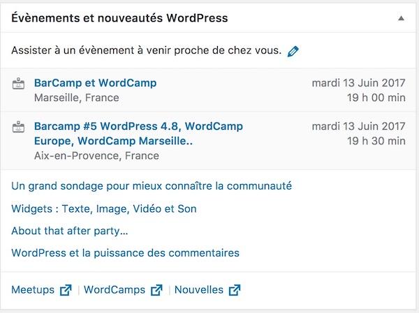 WordPress 4.8 Evenements Proximite