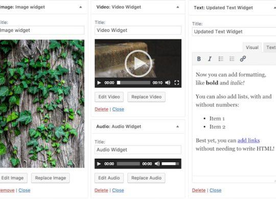 WordPress 4.8 Widgets