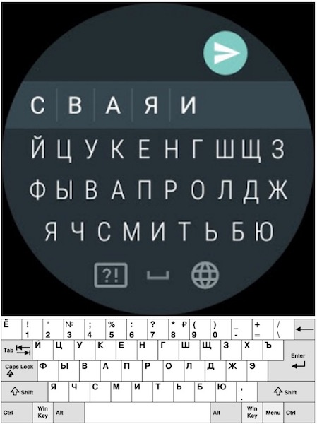 Android Wear 2.0 Clavier Russe Touches Manquantes