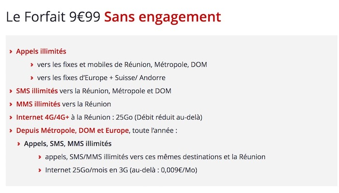 Free Mobile Forfait La Reunion