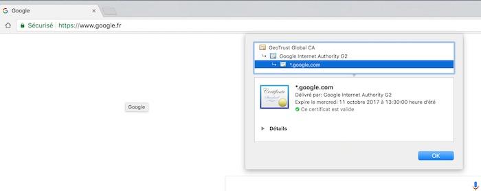 Google Chrome Certificat Site