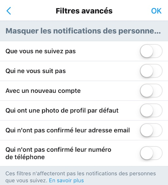 Twitter Reglages Avances Notifications