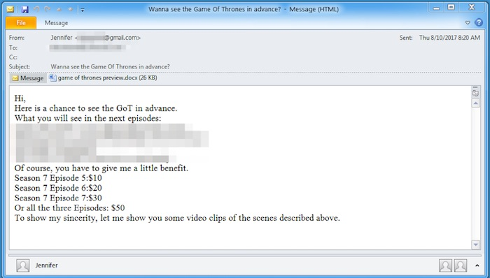 Email Malware Game Of Thrones