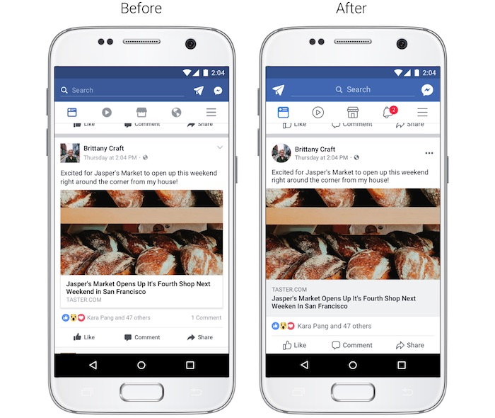Facebook Design Revu Fil Actualite Application Mobile Aout 2017