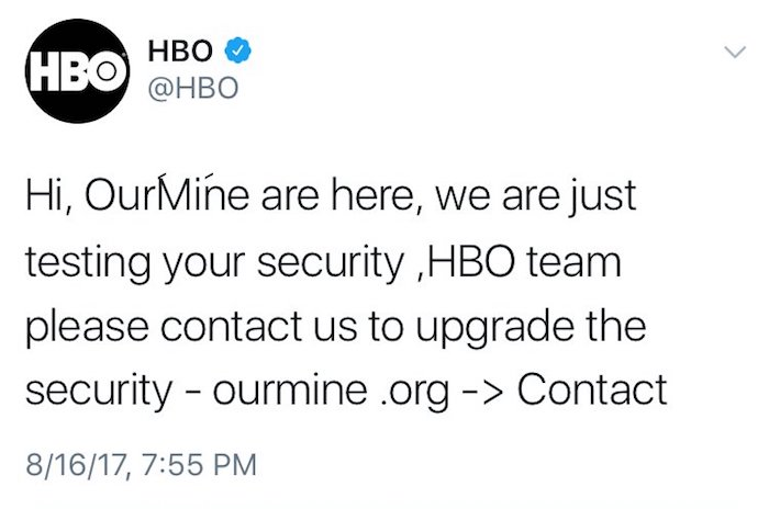 HBO Compte Twitter Pirate OurMine
