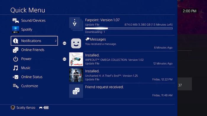 PlayStation 4 Mise A Jour 5.0 Menu Rapide