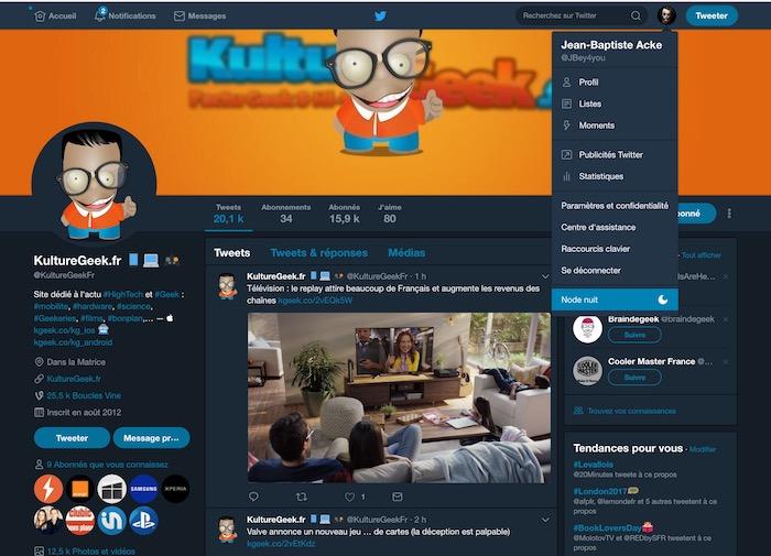 Twitter Web Mode Nuit
