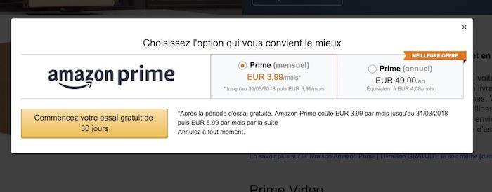Amazon Prime Abonnement Mensuel France