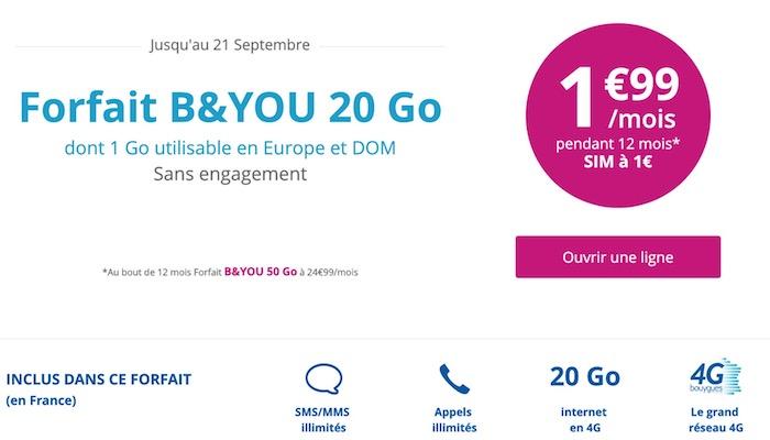 Bouygues Promo Forfait 1.99 Euro Septembre 2017