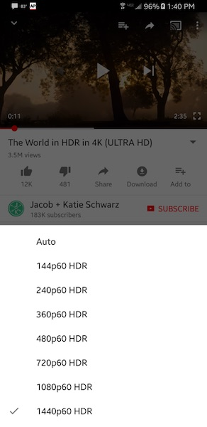 YouTube Video HDR Galaxy S8