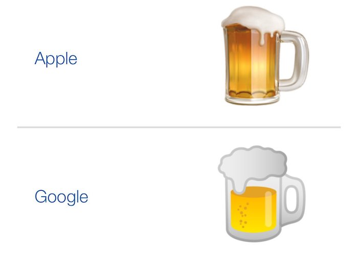 Emoji Biere Apple Google