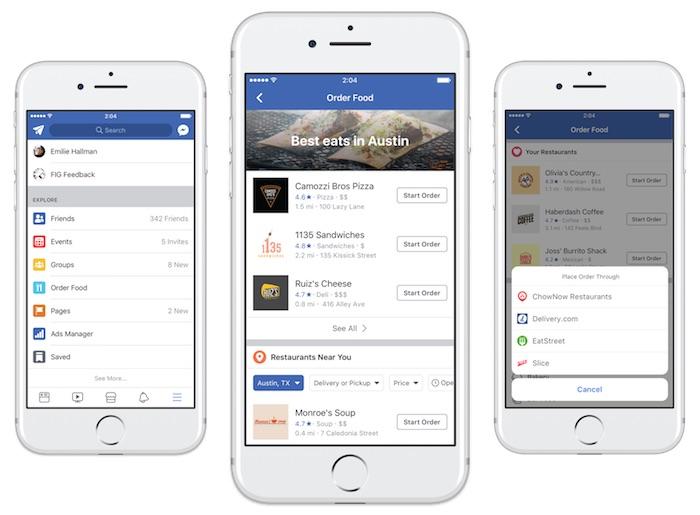Facebook Commander Repas Nourriture