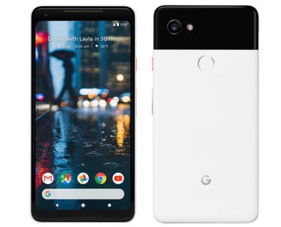 Google Pixel 2 XL Avant Arriere Officiel Blanc Noir 556x450