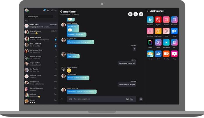Skype Nouveau Design Sombre