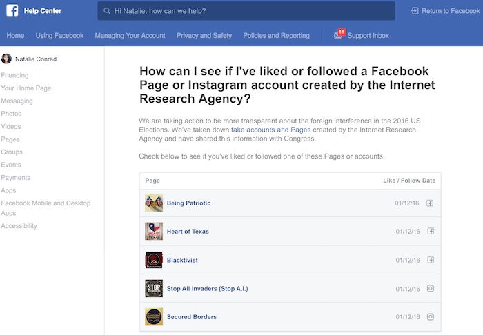 Facebook Outil Pages Russes Elections